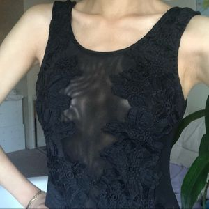 LF Black Mesh Flower Detail Body Suit